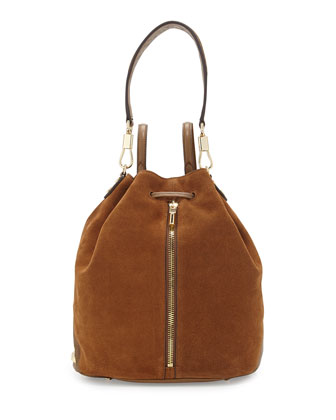 Cynnie Suede Drawstring Backpack, Coco