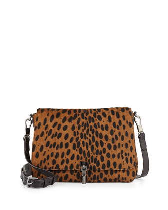 Cynnie Spotted Mini Crossbody Bag, Cognac/Black