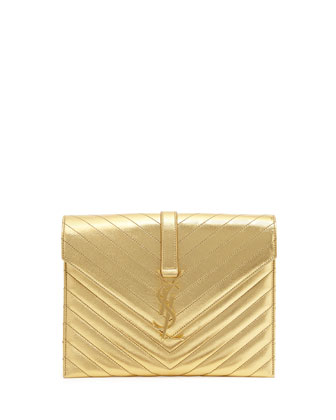 Monogramme Envelope Shoulder Bag, Gold