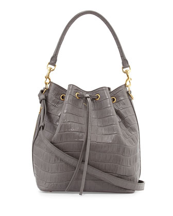 Medium Croc-Print Bucket Shoulder Bag, Gray
