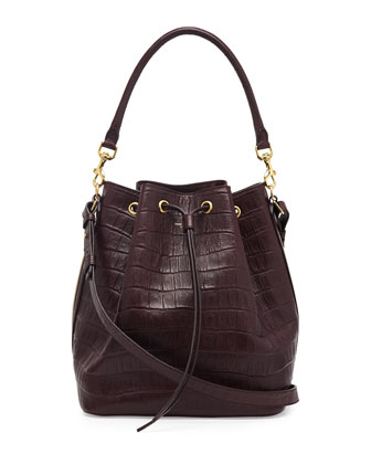 Medium Croc-Print Bucket Shoulder Bag, Bordeaux