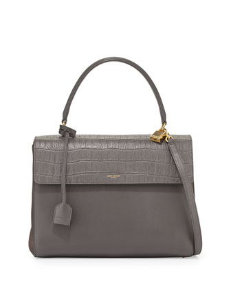 Moujik Crocodile-Embossed Satchel Bag, Gray