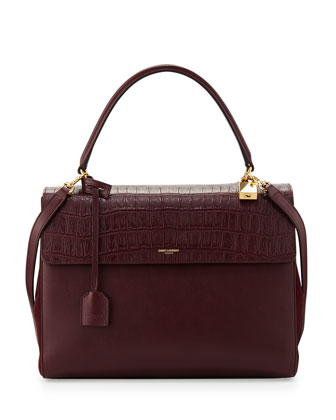 Moujik Crocodile-Embossed Satchel Bag, Bordeaux