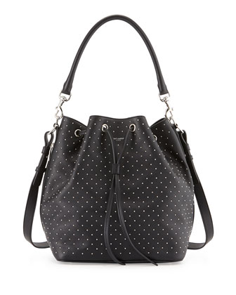 Studded Medium Bucket Shoulder Bag, Black
