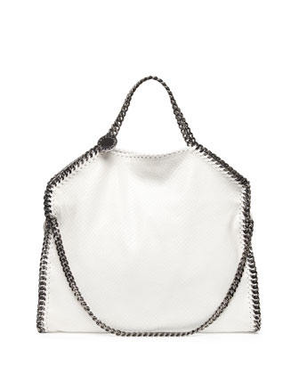 Falabella Faux-Python Fold-Over Tote Bag, White
