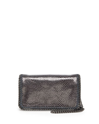 Falabella Faux-Lizard Crossbody Bag, Pewter