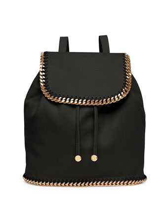 Falabella Shaggy Deer Backpack, Black/Gold