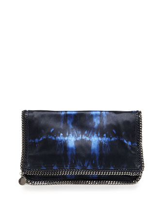 Tie-Dye Satin Falabella Fold-Over Clutch Bag