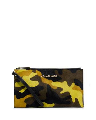 Large Bedford Camo Calf-Hair Zip Clutch