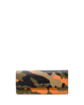 Jet Set Camo Travel Flat Wallet