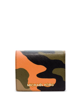 Jet Set Camo Travel Flap Card Holder