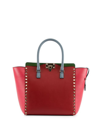 Rockstud Italian Pop Shopper Bag, Pink/Red/Green