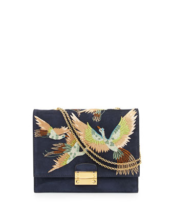 Bird Embroidered Suede Shoulder Bag