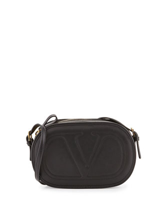 Logo-Go Small Calfskin Crossbody Bag, Black