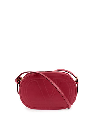 Logo-Go Small Calfskin Crossbody Bag, Red