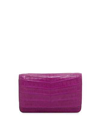Crocodile Clutch Bag with Strap, Magenta