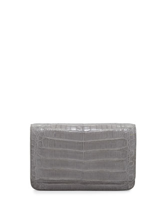Crocodile Clutch Bag with Strap, Gray