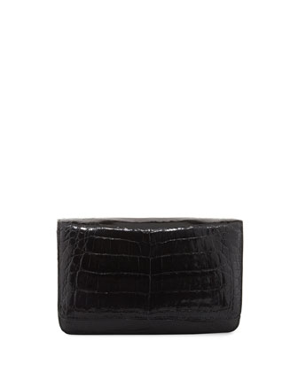 Crocodile Clutch Bag with Strap, Black