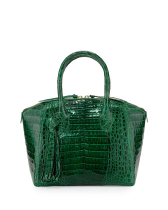Small Crocodile Tassel Satchel Bag, Green