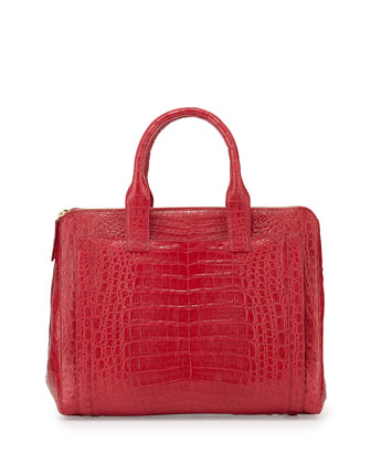 Crocodile Large Zip Tote Bag, Red