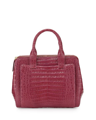 Medium Crocodile Zip Tote Bag, Raspberry
