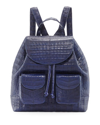 Crocodile Drawstring Backpack, Navy