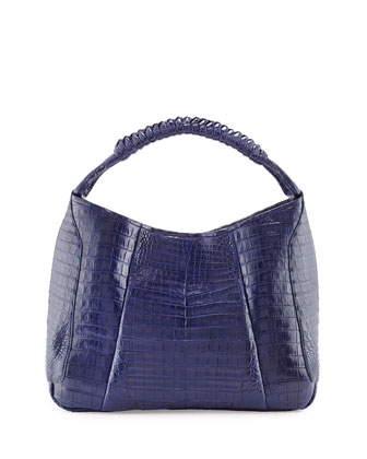 Medium Crocodile Hobo Bag, Navy