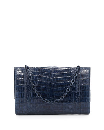 Crocodile Large Framed Clutch with Chain, Navy