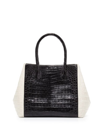 Bicolor Crocodile Trapeze Tote Bag, Black/White