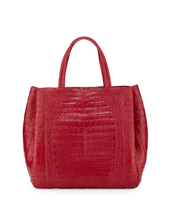 Crocodile Medium Tote Bag, Red