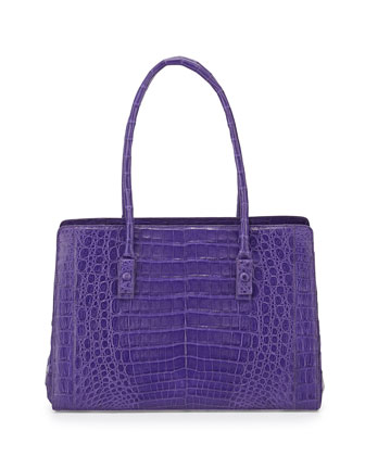 Crocodile Small Multi-Pocket Satchel Bag, Purple