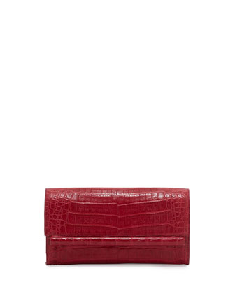 Small Crocodile Bar Clutch Bag, Red