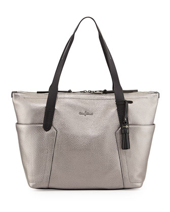 Pebbled Zip Shopper Tote Bag, Armor