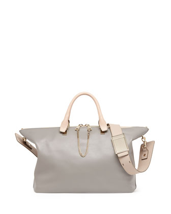 Baylee Medium Satchel Bag, Gray/Beige