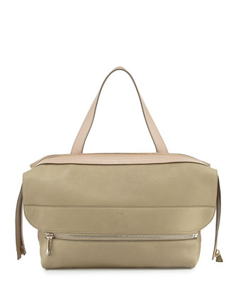 Dalston Medium Deerskin Shoulder Bag, Green/Beige