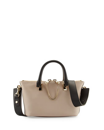 Baylee Mini Calfskin Satchel Bag, Beige