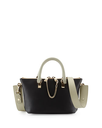 Baylee Mini Calfskin Satchel Bag, Black/Gray