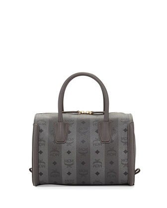 Striped Visetos Medium Boston Bag, Gray