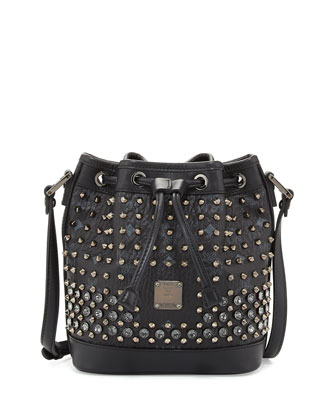 Gold Visetos Mini Drawstring Bag, Black