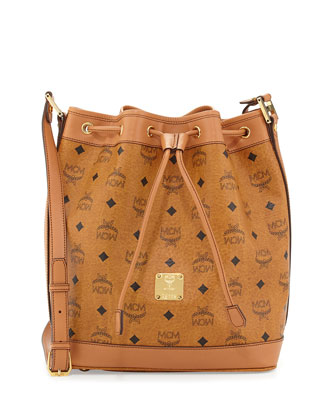 Heritage Visetos Drawstring Bag, Cognac