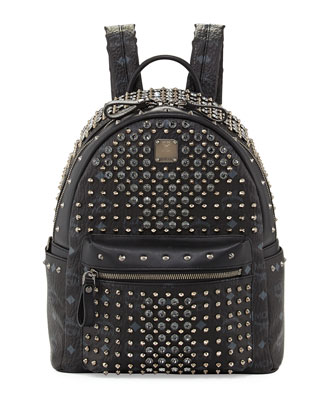 Gold Visetos Small Backpack, Black