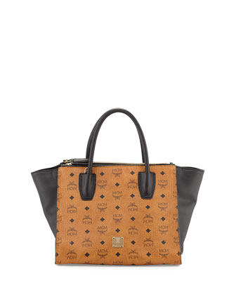 Christina Visetos Zip Satchel Bag, Cognac/Black