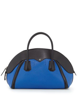 Marion Medium Bowler Bag, Blue/Black