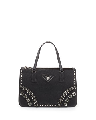 Saffiano Tote Bag with Studs and Stones, Black (Nero)