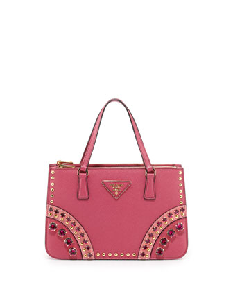 Saffiano Tote Bag with Metal Studs and Stones, Fuchsia Multi (Fuxia+Geranio)