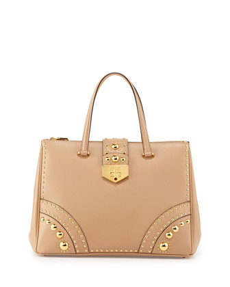 Saffiano Tote Bag with Metal Studs, Sand (Sabbia)