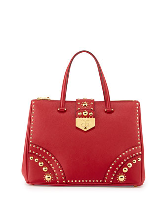 Saffiano Tote Bag with Metal Studs, Red (Fuoco)