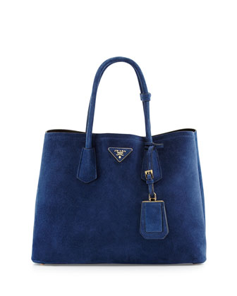 Suede Medium Double-Pocket Tote Bag, Navy (Navy)