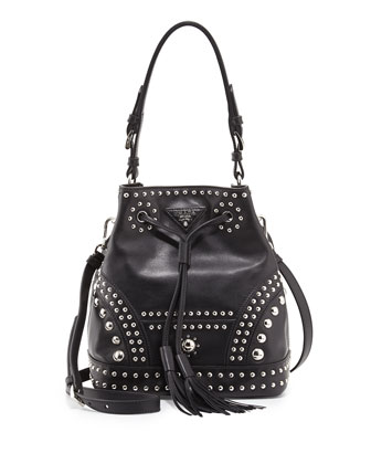 Soft Calf Studded Small Bucket Bag, Black (Nero)