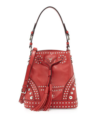 Soft Calf Studded Bucket Bag, Red (Fuoco)